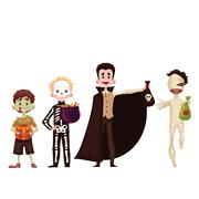 Boys dressed in skeleton, mummy, zombie, vampire costumes for Halloween Stock Illustration