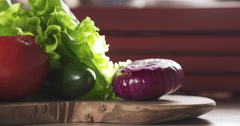 Ingredients for burger on kitchen table Stock Footage