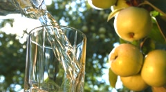 Apple juice on the background of growing apples. Stock Footage