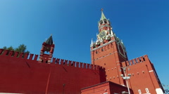 Red Square and the Grand Kremlin Palace and the Senate tower Stock Footage