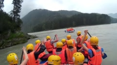 Rafting on a mountain river in a inflatable boat Stock Footage