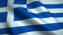 Greece National Flag Video - Windy Greek Flag Stockfootage Stock Footage