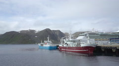 Fishing boat in the port - Honningsvag, Norway  Stock Footage