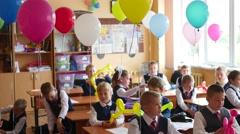 NOVOSIBIRSK, RUSSIA - September 2016: children at desks school Stock Footage