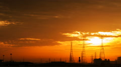 Time lapse shot of electric power station at sunrise, 4k Arkistovideo