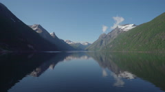 Beautiful fjord landscape in Norway - reflecting mountains Stock Footage