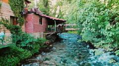 BLUE EYE DELVINE ALBANIA RIVER BAR Stock Footage