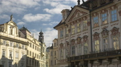 Pan across ornate buildings in old town square Prague Stock Footage