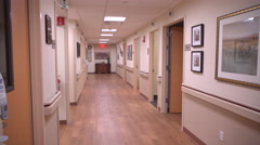 Hallway in a modern medical building Stock Footage