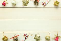 Top view Chrismas decoration and ornament on wooden table with copy space. Stock Photos