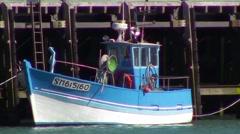 Little fishing boat Stock Footage
