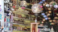 Souvenir shop with oriental goods Stock Footage