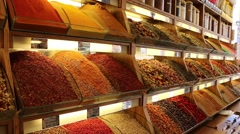 Merchant of spices and seasonings showing the goods Stock Footage