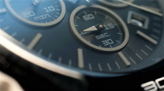 Black Chronograph Watch With Additional Arrows And Three Additional Dials. Stock Footage