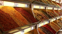 Shop shelves with spices and seasonings Stock Footage