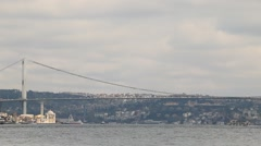 View of the Bosphorus Bridge over the Bosporus Stock Footage