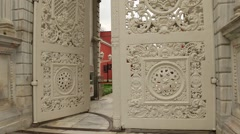Main entrance gate of Dolmabahce sultan palace in Istanbul Stock Footage