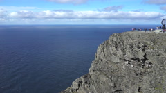 North cap, Norway - steep rocky coast Stock Footage