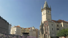 Tower of the astronomical clock Prague Stock Footage