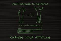 From insecure to confident: man changing attitude, progress bar Stock Illustration