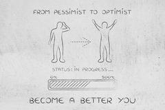From pessimist to optimist: man changing attitude, progress bar Stock Illustration