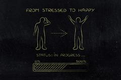 From stressed to happy: man changing attitude, progress bar Stock Illustration