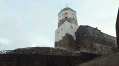 View of the Vyborg Castle on a winter morning. Vyborg Stock Footage