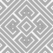 Monochrome geometric knotted seamless pattern. Stock Illustration
