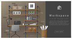 Interior design Modern workspace background Piirros