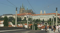 Manes Bridge and St Vitus Cathedral Stock Footage