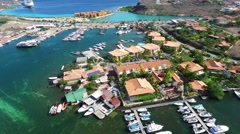 Aerial of harbor and houses at Kleine Wereld Curacao Stock Footage