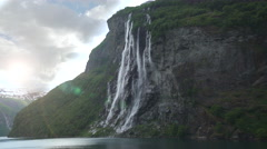 Big waterfall in a Norway fjord - Seven sister waterfall Stock Footage