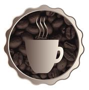 Roasted Coffee Cup Sign Stock Illustration