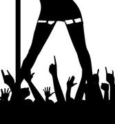 Pole Dancer And Audience Stock Illustration