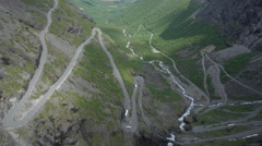 Serpentine road among the mountains - Trollstigen, Norway Stock Footage