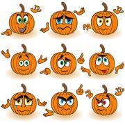 Amusing gesticulating orange pumpkins Stock Illustration