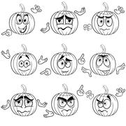 Amusing gesticulating pumpkin outlines Stock Illustration
