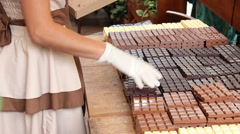 Chocolate bars at the market Stock Footage