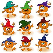 Set of gesticulating pumpkins in hats Stock Illustration