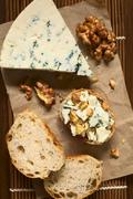 Blue Cheese and Walnut Canape Stock Photos