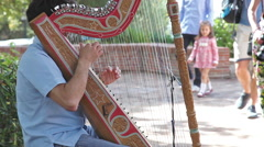 Musician playing harp Stock Footage