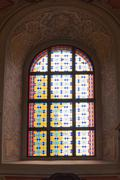 Bright and colorful stained glass window Stock Photos