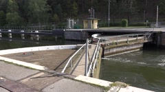 Sodertalje lock gates open to lock the boats out after docking Stock Footage