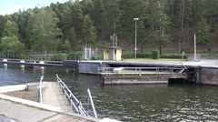 Sodertalje lock gates closing after boats had left it Stock Footage