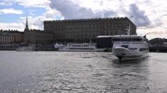 Twin-deck m/s Waxo swings in Saltsjo waters in front of the Royal Castle Stock Footage