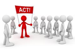 Holding act concept 3d illustration Stock Illustration