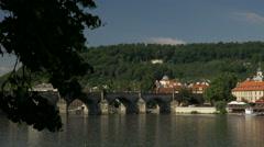 Vltava River and Charles Bridge in Prague. Stock Footage