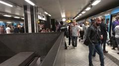 T-Centralen Tunnelbana station intensive passenger exchange Stock Footage