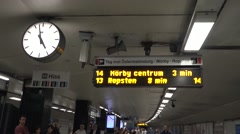 Standard timetable/departures information panel at a Tunnelbana station Stock Footage