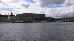 The Royal Castle (Palace) of Stockholm as seen from Skeppsholmen Island Stock Footage